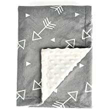 """Boritar Baby Blanket Super Soft Minky with Double Layer Dotted Backing, Little Grey Arrows Printed 30""""x40"""", Bed Blankets"""