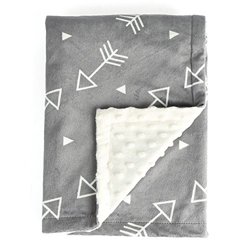 BORITAR Baby Blanket Super Soft Minky with Double Layer Dotted Backing, Little Grey Arrows Printed 30 x 40 Inch, Receiving Blankets (Baby Stuff For Both Genders)