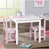 Hayden Kids 3-Piece Table and Chair Set,WhitePink