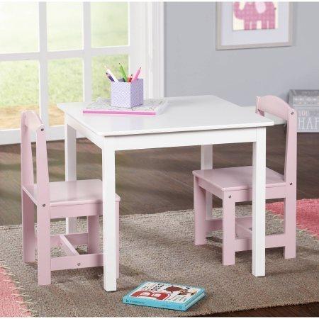 Hayden Kids 3-Piece Table and Chair Set,WhitePink
