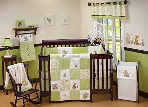 Bear Nursery Set - Disney Baby My Friend Pooh 4 Piece Nursery Crib Bedding Set, Green, Brown, White