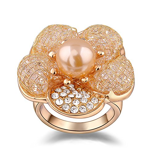 Mytys Rose Gold Flower with Pearl Cocktail Ring for Women (10) ()