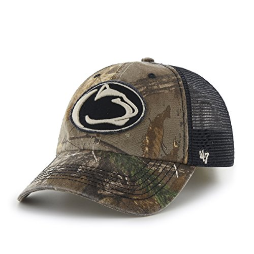 NCAA Penn State Nittany Lions '47 Huntsman Closer Camo Mesh Stretch Fit Hat, One Size, Realtree (Penn State Camo)