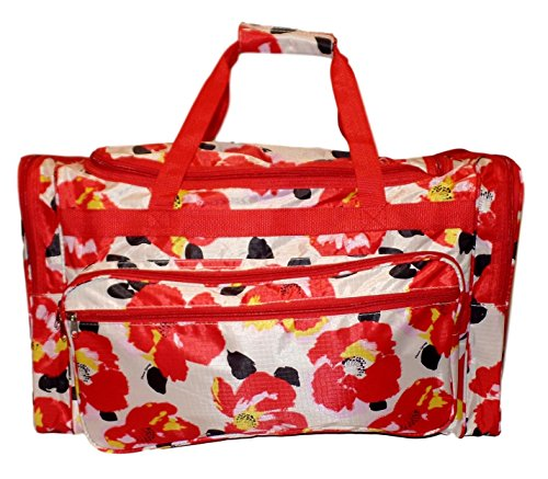 High Fashion Print Gym Dance Cheer Travel Duffle Bag 22″ (Bold Flowers – Red) For Sale