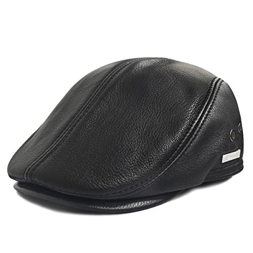 LETHMIK Flat Cap Cabby Hat Genuine Leather Vintage Newsboy Cap Ivy Driving Cap L-Black