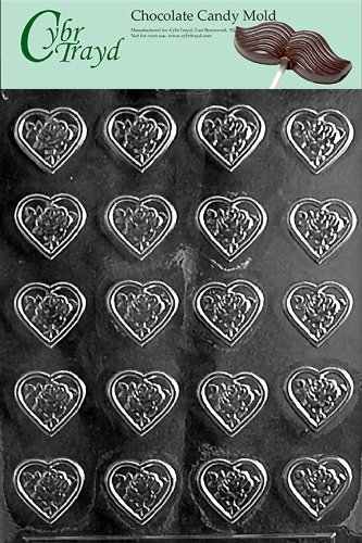 Cybrtrayd V098 Rose Heart Mint Valentine Chocolate Candy Mold, Bite Size