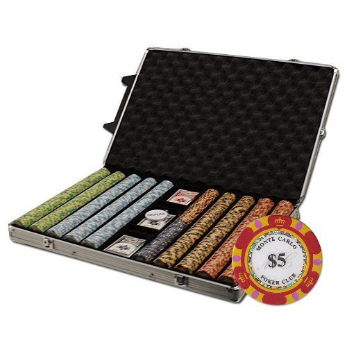 Brybelly 1000-Count Monte Carlo Poker Chip Set in Rolling Aluminum Case, 14gm (Set 1000 14g Poker Chip)