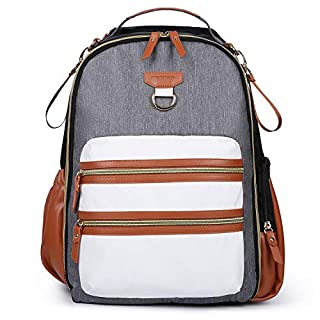 mommore Diaper Backpack Wash-Free Diaper Bag Baby Nappy Bag, Brown