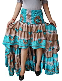 Womens Hi Low Skirt Vintage Recycled Sari Cherished Cheer Full Flare Tiered Ruffle Flirty Skirts S/M