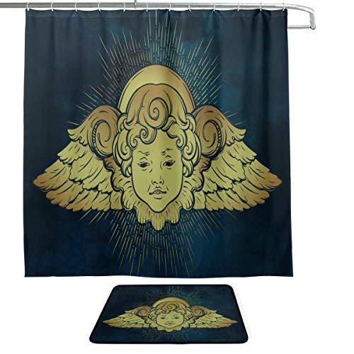 VNASKL Gold Cherub Cute Winged Curly Smiling Printing Waterproof Shower Curtain&Non-Slip Bath Mat Rug Floor Mat Combination Set with 12 Hooks for Bathroom Decor Daily Use 72