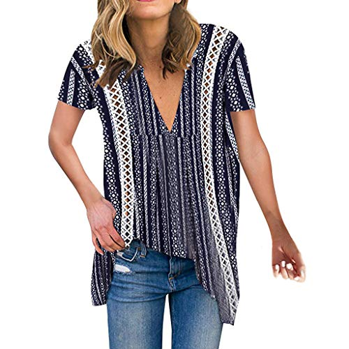 Womens Boho Floral Blouse V Neck Hollow Out Shirt Summer Casual Loose Short Sleeve Tops Tee Navy ()
