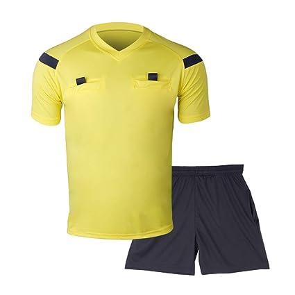 Shinestone Soccer Short Sleeves Referee Jersey Men s Referee Shirt (Yellow 5b89ac30f