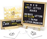 Felt Letter Board Set by MCS - 2 Black Boards - 10x10 Hangs & Mini 10 x 4 inch + 680 Changeable Characters Yellow & White Letters, Numbers & More + Accessories - Plastic Storage Organizer, Wood Stand