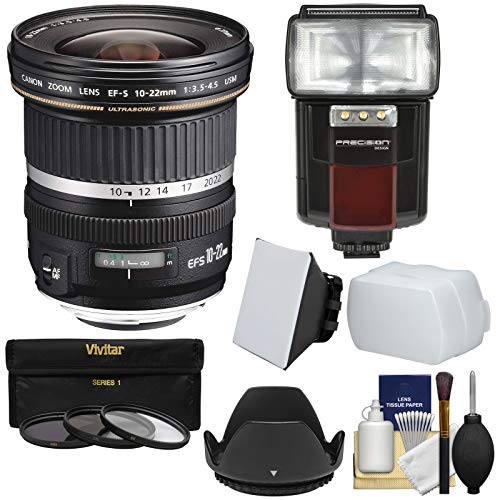 (Canon EF-S 10-22mm f/3.5-4.5 USM Ultra Wide Angle Zoom Lens with 3 Filters + Hood + Flash & Video Light + Diffuser + Soft Box + Kit for EOS 70D, 7D, Rebel T5, T5i, T6i, T6s, SL1 Camera)