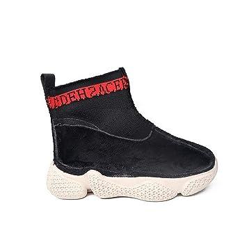 JIE Zapatillas Altas para Niños Zapatillas para Niños Otoño E Invierno Calcetines Largos de Algodón Y