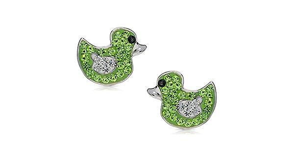 Amazon.com: Lindo vidrio verde Mini Pato arete De Nunca Se ...