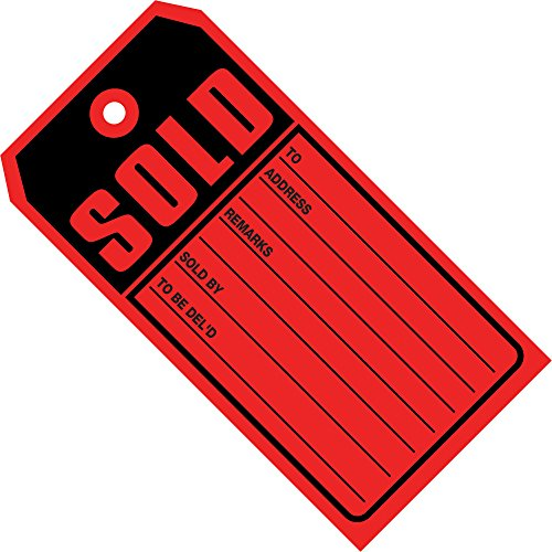 Aviditi G2530 13 Point Cardstock Sold Tag, 4-3/4