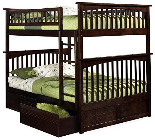 (Columbia Bunk Bed with 2 Flat Panel Bed Drawers, Full Over Full, Antique Walnut)