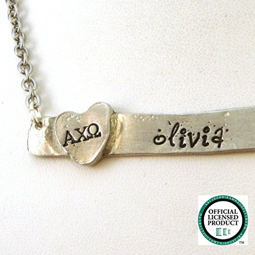 Personalized Necklace Omega (Personalized Alpha Chi Omega Horizontal Bar Necklace | Hand Stamped Necklace | Alpha Chi Omega Personalized Necklace | Pewter Necklace)