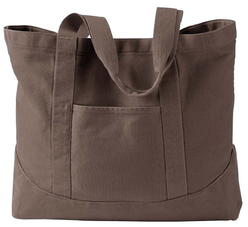 14 Oz Authentic Pigment Pigment-dyed Large Canvas Tote Bag Brown - Brown