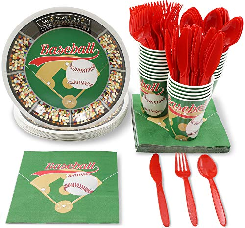 Juvale Baseball Party Supplies for Birthdays and Sports Parties - Plates, Knives, Spoons, Forks, Napkins, and Cups, Serves 24 -