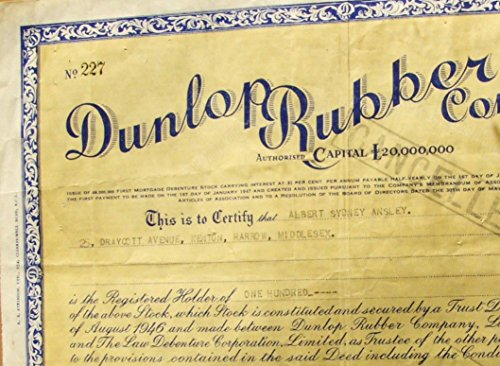 1946 UK PHENOMENAL VINTAGE DUNLOP RUBBER SECURITY (Maker of Car Tires, Tennis Balls & More) SO ARTISTIC! SO HISTORIC! $200 RETAIL! Pounds Sterling About Uncirculated