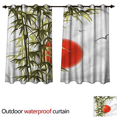(cobeDecor Bamboo Tree Outdoor Curtain for Patio Sunset Scenery Birds W72 x L72(183cm x 183cm))