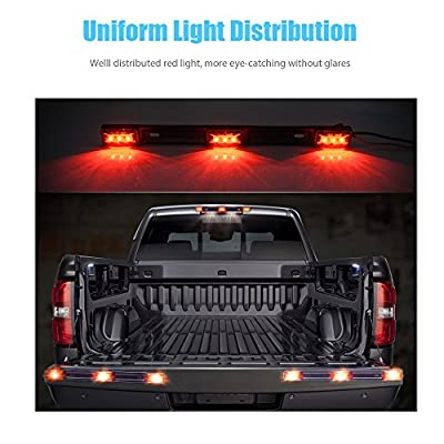 MICTUNING Red Clearance Id Bar Marker Light 3 Light 9 LED 14.2