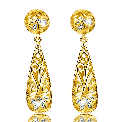 Esberry✦Gifts for Mother's Day✦18K Gold Plating 925 Sterling Silver Drop Earrings Open Filigree Puffed Teardrop Earrings Jewelry for Women and Girls (18K Yellow Gold)