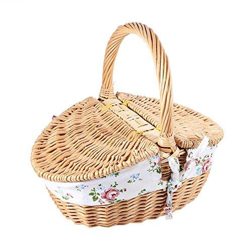 Mimbre que acampa cesta de picnic cesta de almacenamiento de compras con tapa y manija de madera color