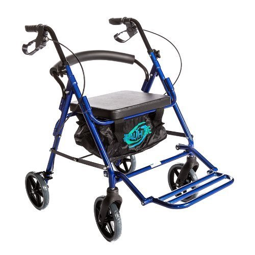 HealthLine Combo Transport Rollator Chair with Wheels Loop Brakes and Pouch, (Combo Walker)