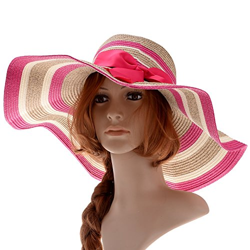 beach hat straw hat wide brim hat bowknot mixed
