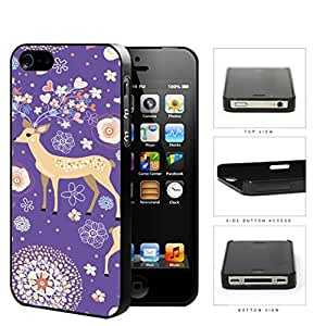 Reindeer With Flower And Heart Horns Purple Hard Plastic Snap On Cell Phone Case Apple iPhone 4 4s