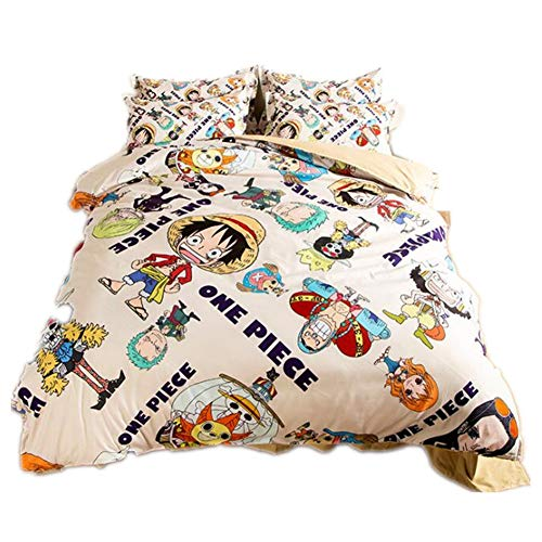 Judy Dre am Japanese Anime Bedding Set 4pcs Home Textile Polyester Cartoon Chopper Duvet Cover Sets 4-Piece One Piece Bed Set 4pcs Soft Breathable Bedding Sets for Boy Full Size