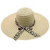 Beach Cap Women Print Two-Side Big Brim Straw Hat Sun Floppy Wide Brim Hats Beige