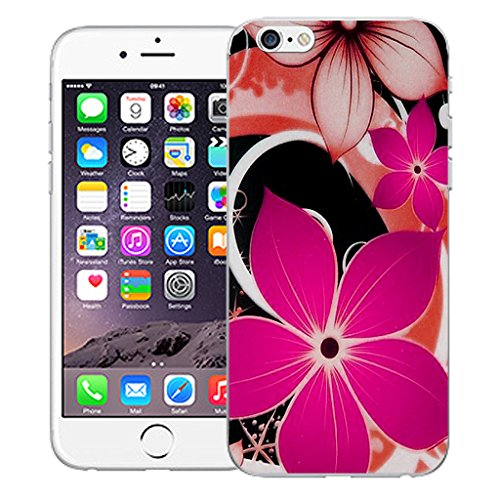"""Mobile Case Mate iPhone 6 4.7"""" Silicone Coque couverture case cover Pare-chocs + STYLET - Pink Hybrid Flower pattern (SILICON)"""