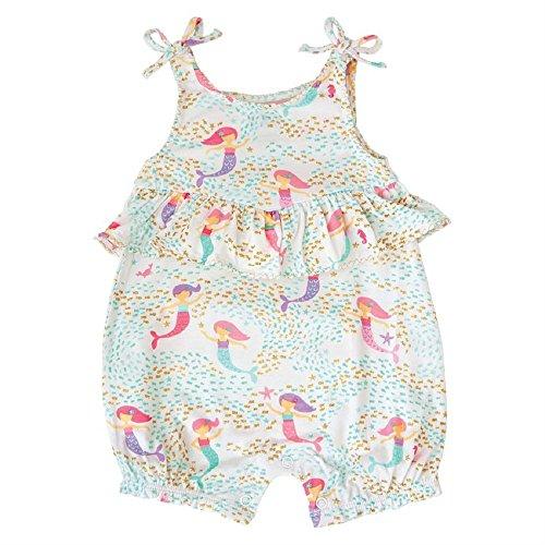 Mud Pie Baby Girls Mermaid Sleeveless Bubble Romper Playwear, White, 0-3 Months