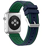 Apple Watch Band 38 Series 1 Series 2, Honest kin Soft Silicone Replacement Band Strap for Apple Watch 38mm 2015 Series 1 & 2016 Series 2 All Models(Not fit 42mm Versions) (Blue/Green)