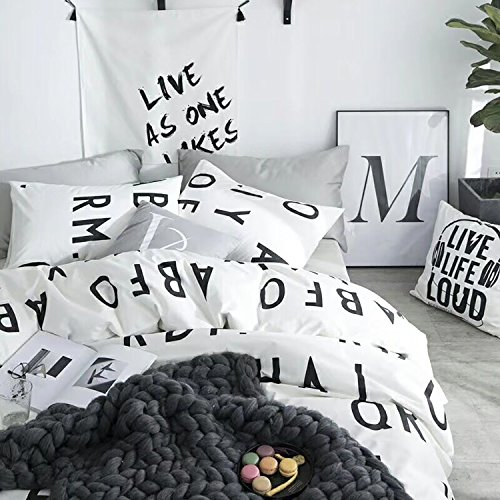 Cheap karever Black and White Capital Letter Cotton Duvet Cover Sets Boys Girls Queen Full Bedding Sets Super Soft For Woman 1 Duvet Cover 2 Pillowcases, Reversible for cheap