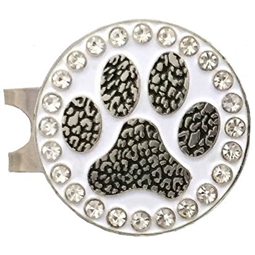 Giggle Golf Bling Paw Print Golf Ball Marker With A Standard Hat Clip ()