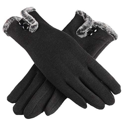 Generic Women's Fashion Touch Screen Warm Winter Thick Gloves With Button (Coats Winter Very For Women Warm)