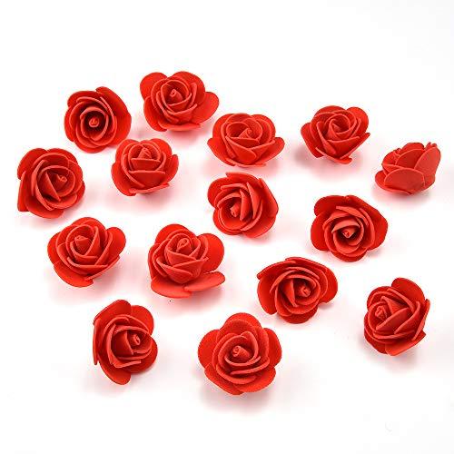 roses flowers in bulk wholesale Fake Flowers Heads Mini PE Foam Rose Flower Head Artificial Flowers for Home DIY Headdress Wreath Supplies Wedding Party Decoration 50Pcs/lot 3cm (red)