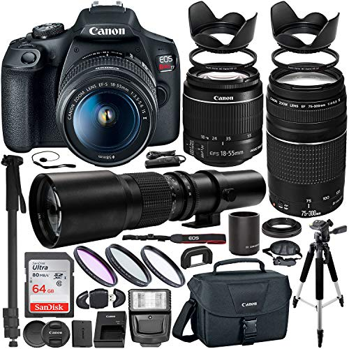 Canon EOS Rebel T7 DSLR Camera with EF-S 18-55mm is II & EF 75-300mm III Canon Lenses & 500mm Preset Lens W/ 2X (1000mm) HD Teleconverter + Premium Bundle