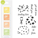ShopForAllYou Stamping & Embossing''Bouquet'' Clear Stamps +''Lucy's Floral Favorites'' Mini Ink Pad Bundle