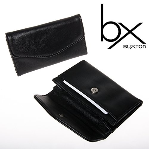2-buxton-black-faux-leather-snap-business-card-case-holder-wallet-pocket-file