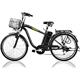 "NAKTO 26"" 250W Electric Bicycle Sporting Shimano 6 Speed Gear EBike Brushless Gear Motor Removable Waterproof Large Capacity 36V10A Lithium Battery Battery Charger -Class AAA"