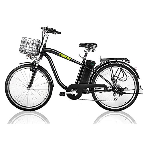 "NAKTO 26"" 250W Cargo Electric Bicycle Sporting Shimano 6 Speed Gear EBike Brushless Gear Motor with Removable Waterproof Large Capacity 36V10A Lithium Battery and Battery Charger -Class AAA"