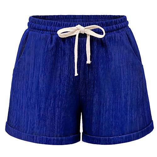Women's Drawstring Elastic Waist Casual Comfy Cotton Linen Beach Shorts Cobalt Plus Size Tag 8XL-US 24