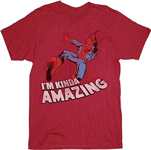 Spider-Man I'm Kinda Amazing Red Mens T-shirt Tee (Adult X-Large)