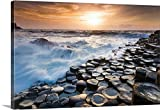 Olimpio Fantuz Premium Thick-Wrap Canvas Wall Art Print entitled UK, Northern Ireland, Great Britain, Antrim, Giant's Causeway, Basalt columns at sunset